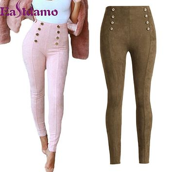 High Waist Womens Jeans 2017 Autumn Casual Suede Pants  Ladies Work Elegant Silm Long Trousers Skinny Tight Pencil Pants