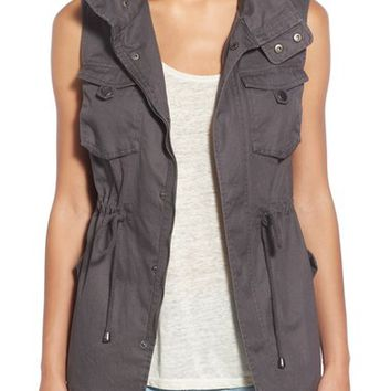 Pleione Cotton Twill Military Vest (Regular & Petite) | Nordstrom