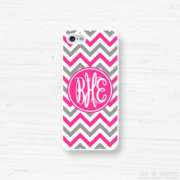 Monogram iPhone Samsung Case - 5, 4 Galaxy s2 s3 s4 note, Ipod Touch 4, 5, Blackberry - Chevron - Pink Grey - 0002