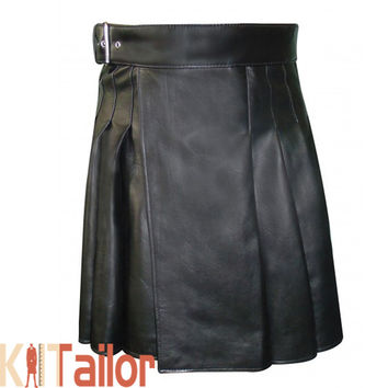 Mens Black Leather Kilt Custom Made