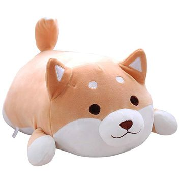 Shiba Inu Dog Plush Pillow, Cute Corgi Akita Stuffed Animals Doll Toy Gifts for Valentine's Gift, Christmas,Sofa Chair, brown round eye, 15""