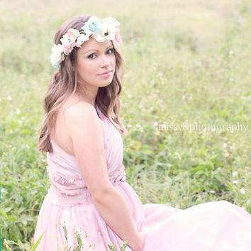 Eco friendly Flower crown apricot blush, pale pink and aqua, North Naples Florida, Missy K photography