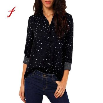 Feitong Long Sleeve Chiffon Blouse Women Polka Dot Print Office Shirt Ladies Stand Collar Tops blusa feminina 2018