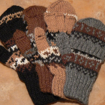 "Deluxe Hand Knit Hooded Kids Alpaca Gloves (""Glittens"")"