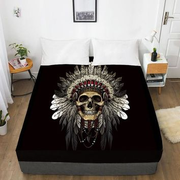 Indian Chief Skull Fitted With Elastic Bed Sheet
