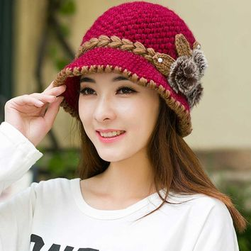 2017 New Fashion Women Lady Winter Warm Casual Caps Female Beautiful Wool Crochet Knitted Flowers Decorated Ears Hats Beanies