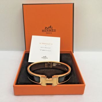 NEW HERMES Clic Clac H narrow PM black enamel gold hardware bracelet with box