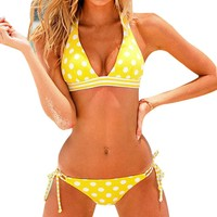 Polka Dots Bikini Stripes Halter Top Tie Side Bottom Bathing Suit Swimsuit