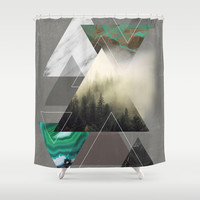 Triangles Symphony Shower Curtain by Cafelab