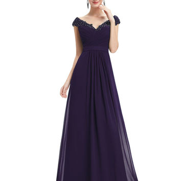 Long Bridesmaid Dresses V Neck Chiffion Ever Pretty EP08633 Hot Sale 2016 New Arrival Women's Sexy Dresses