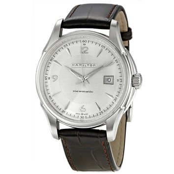 Hamilton H32515555 Men's Jazzmaster Viewmatic Silver Dial Leather Strap Watch