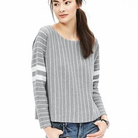 Banana Republic Womens Multi Stripe Cropped Pullover