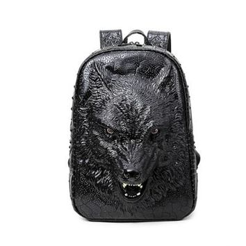 Cool Backpack school 3D Leather Men Wolf Backpacks Cool School Computer Bags Silver Gold Black Fashion Rivet Bags Vintage Halloween Bags 2017 AT_52_3