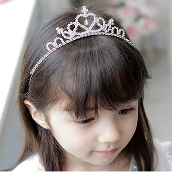 New Cute Princess Crown Tiara Rhinestones Corona Diadem Hairwear Hair Fashion Jewelry Lovely Wedding Girls Bridesmaid Headband