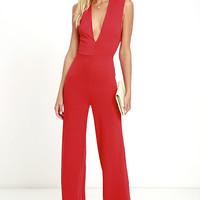 Cat's Meow Red Jumpsuit