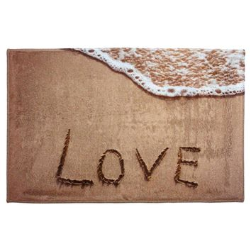 Beach Style Coral Velvet Antislip Bathroom Rug