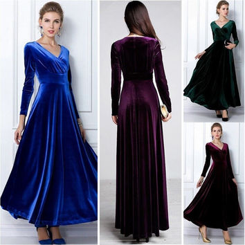 Long Sleeve Velvet Party Formal Evening Maxi Dress Christmas Prom Dress Sexy V Neck Plus Size 3XL Cocktail Dress
