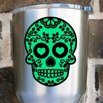 Sugar Skull Decal - Sugar Skull Sticker - Day of the Dead - Yeti Decal - Two Color Decal - Skull Decal - Halloween - Fall - Skeleton
