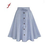 FEITONG Female Skirts Fashion Women Stripe Single-breasted Lace-Up High Waist Plain Skater Flared Skirt Casual Sweet Long skirt