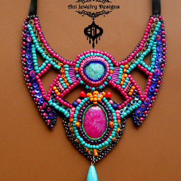 Maratus volans  Bead embroidery bib Ani Jewelry Designs rainbow space spider inspired  necklace with Dragon Vein Pink Agate, Turquoise gems