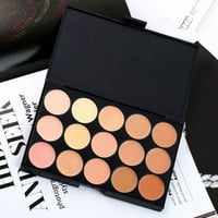 Professional Makeup Eyeshadow Camouflage Facial Concealer Neutral Palette Cream 15 Colors Womens Gift