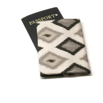Ikat passport case, monogrammed passport cover, personalized passport holder, traveler gift idea.