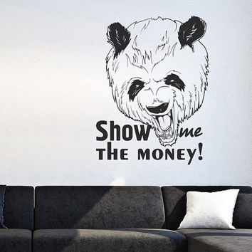 I193 Wall Decal Vinyl Sticker Art Decor Design panda money black humor animal graffiti street style Living Room Bedroom