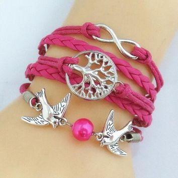 Cute Unique Silver Plated Infinity Birds Tree of life Cute Charm Bracelet