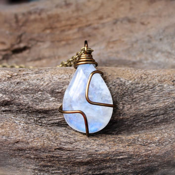 Rainbow Moonstone Necklace - Wire Wrapped Stone Necklace - Natural Gemstone Jewelry - Moonstone Jewelry - Wiccan Necklace - Boho Jewelry