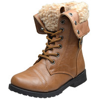 Kids Mid Calf Boots Fold Over Cuff Fur Lined Lace Up Combat Shoes Tan