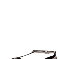Wild Diva Lounge Starla 140A Black and Pewter Cage Flats