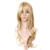 Charming Blonde Long Wavy Costume Wig Hair Women's Fashion Wig long Curly Hair Wigs With Bangs