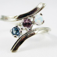 Opal, Alexandrite, and London Blue Topaz Ring Sterling Silver, Mother's Ring, Sterling Silver Mother's Ring, Three Stone Ring, 925 Ring