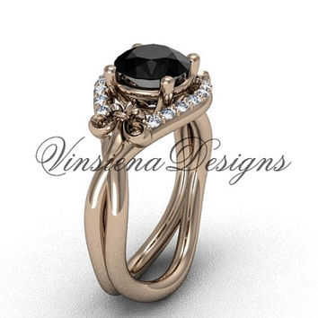 14kt rose gold diamond Fleur de Lis engagement ring, Black Diamond VD10026