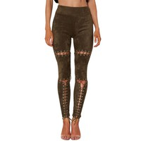 Lace Up Slim Stretch Skinny High Waist Pants
