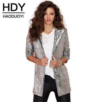 HDY Haoduoyi 2016 Autumn Fashion Women Silver Sequined Coats Turn-down Collar Long Sleeve Outwears Cardigan Jackets