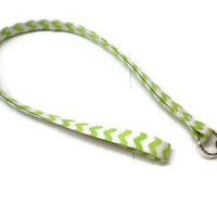 Lime green rick rack key lanyard, personalized lanyard, ID badge lanyard, fabric lanyard, teacher gift idea, monogrammed gift, under 10 gift