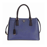 Prada Lux Saffiano Leather Tote - Blue and Black