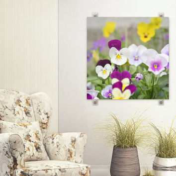 Purple and Yellow Pansy Photograph, Macro Flower Art Photography, Pansies in Garden, Cottage Chic Decor,  Spring Garden  Square Wall Print