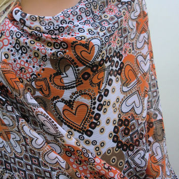 Kimono cardigan with Suset color hearts, orange, black,white and taupe, chiffon-Layering piece-Many colors are coming