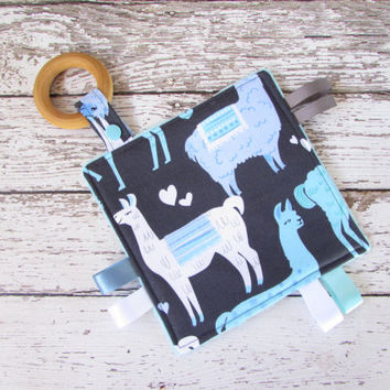 Crinkle Teether - Sensory Blanket,  Sensory Toy - Alpacas in Blue, RTS