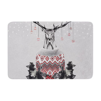 "Nika Martinez ""Christmas Deer Snow"" White Holiday Memory Foam Bath Mat"