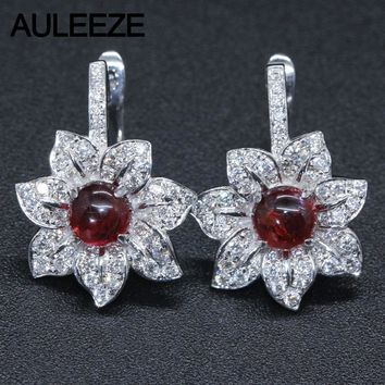 14KT White Gold Drop Earrings Natural Garnet Natural Real Diamonds