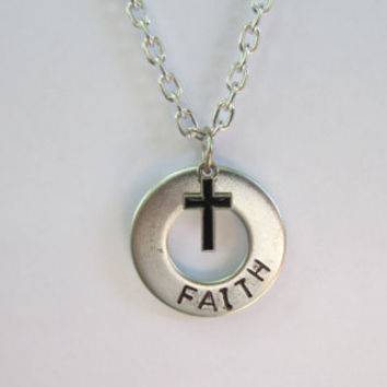 Hand stamped Jewelry,   Washer necklace, Men's Jewelry