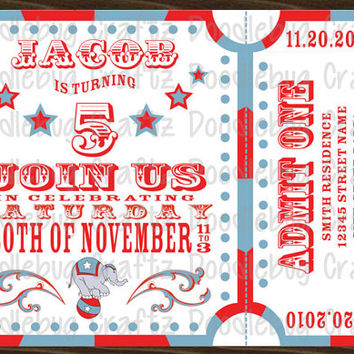 Personalized Carnival Circus Theme Birthday Party Invitation - CUSTOM - Printable - 5x7 or 4x6 - 24hr turnaround!