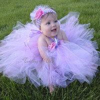 Lavender Pink Tulle Flower Girl Dress Size 5 - 6