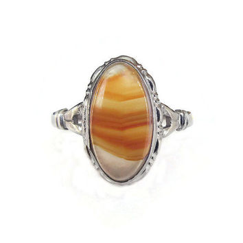 Uncas Sterling Ring, Agate Ring, Montana Agate, Sterling Silver, Vintage Ring, Vintage Jewelry, Size 7.5