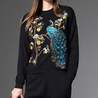 Peacock Embroidered Sweater and Pants Set
