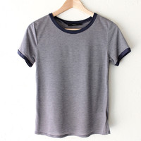 Striped Ringer Tee - Navy
