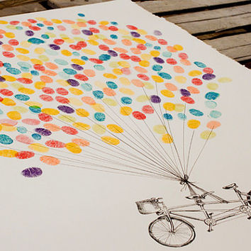 Thumbprint Balloon with Tandem Bike, original alternative guest book fingerprint art (ink pads available separately)